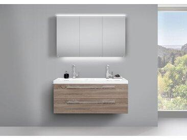 Design Doppelwaschtisch Bad Set Trüffel und LED Spiegelschrank doppelt verspiegelt