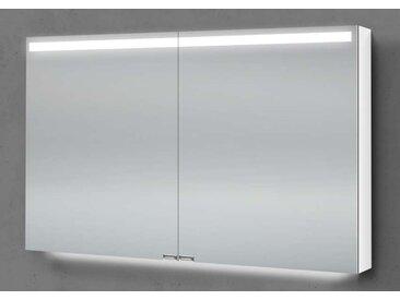 Spiegelschrank 90 cm integrierte LED Beleuchtung doppelseitig verspiegelt Weiß Hochglanz Lack