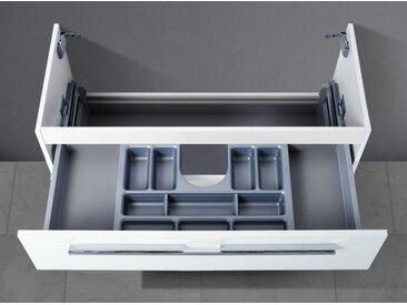 Waschtisch Unterschrank zu Villeroy & Boch Subway 2.0 80 cm, mit Kosmetikeinsatz Weiß Hochglanz Lack