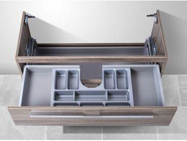 Waschtisch Unterschrank zu Duravit Vero 100 cm, mit Kosmetikeinsatz Waschbeckenunterschrank Weiß Hochglanz Lack