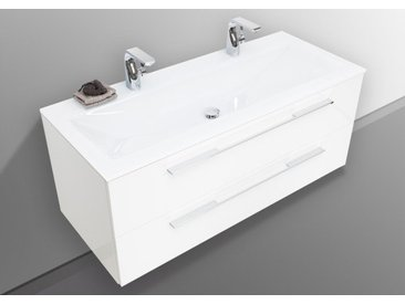 Glas- Doppelwaschtisch 120 cm mit Unterschrank, Waschtisch Set