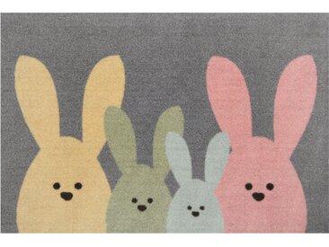 Hanse Home Fußmatte  »Bunny Family«, 40x60x0.7 cm (BxLxH), 7 mm Gesamthöhe, bunt