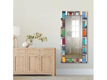 Artland  Wandspiegel  »Fotocollage von 32 bunten Haustüren«, 60.4x120.4x1.6 cm (BxHxT)