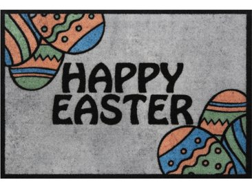 Hanse Home Fußmatte  »Happy Easter«, 40x60x0.7 cm (BxLxH), 7 mm Gesamthöhe, grau