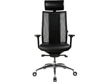Premium Wagner iMedic mit Akku mit Kopfstütze (Rückenlehne schwarz / Sitzfläche Leder / Fußkreuz Aluminium poliert)