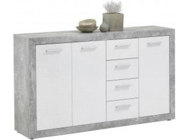 Kommode Beton-Optik/weiß glänzend ca. 152 x 90 x 37 cm