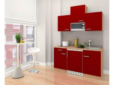 respekta Economy Küchenblock 150 cm, Korpus & Arbeitsplatte Eiche Sonoma Sägerau Nachbildung/Rot, Glaskeramikkochfeld + Mikrowelle
