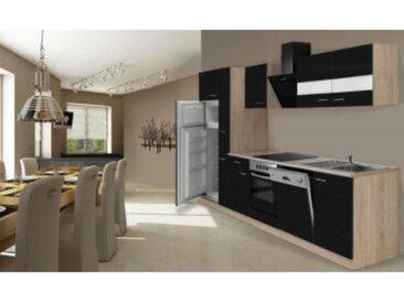 respekta Economy Küchenblock 310 cm, Korpus & Arbeitsplatte Eiche Sonoma Sägerau Nachbildung/schwarz, mit Einbau Kühl-Gefrierkombination GKE 144 A+