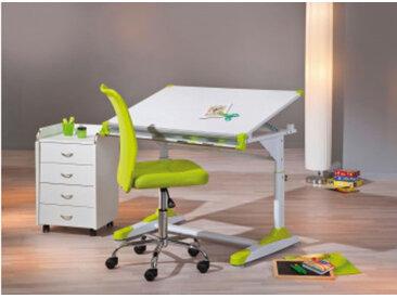 Schüler-Schreibtisch, 2 Colorido, weiss/Pink-Grün