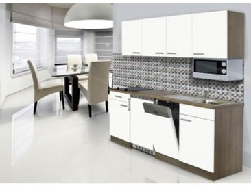 respekta Economy Küchenblock 195 cm, Korpus & Arbeitsplatte Eiche York Nachbildung/Weiß, Glaskeramikkochfeld + Mikrowelle