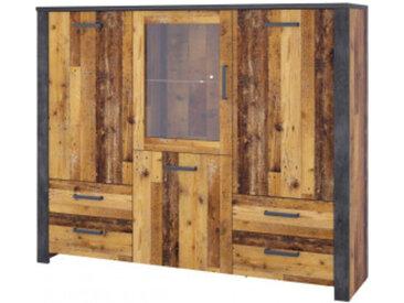 Highboardvitrine Oregon Old Wood Nachbildung/Fresko B/H/T: ca. 172 x 140 x 44 cm