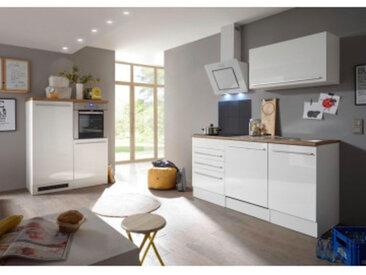 respekta Premium Küchenblock/Doppelblock 290 cm, Korpus Weiß Matt Front Weiß, Arbeitsplatte Wildeiche Nachbildung, mit getrennt stellbarer Backofen/Kühlschrank-Blockeinheit