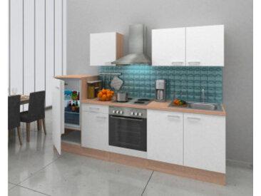 respekta Economy Küchenblock 270 cm, Korpus & Arbeitsplatte Eiche Natur (Nachbildung) Weiß. Edelstahlkochfeld