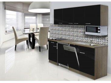 respekta Economy Küchenblock 195 cm, Korpus & Arbeitsplatte Eiche York Nachbildung/Schwarz, Glaskeramikkochfeld + Mikrowelle