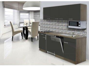 respekta Economy Küchenblock 195 cm, Korpus & Arbeitsplatte Eiche York Nachbildung/Grau, Glaskeramikkochfeld + Mikrowelle