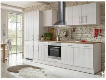 respekta Premium Küchenblock Landhaus 310 cm, Korpus & Front Lärche Weiß Nachbildung Arbeitsplatte Wildeiche Nachbildung