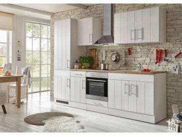 respekta Premium Küchenblock Landhaus 270 cm, Korpus & Front Lärche Weiß Nachbildung Arbeitsplatte Wildeiche Nachbildung