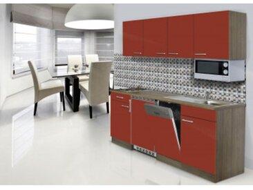 respekta Economy Küchenblock 195 cm, Korpus & Arbeitsplatte Eiche York Nachbildung/Rot, Edelstahlkochmulde + Mikrowelle