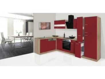 respekta Economy L-Küchenzeile 310x172 cm, Korpus & Arbeitsplatte Eiche Sonoma Sägerau Nachbildung/rot, mit Schräghaube CH 21060