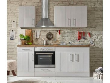respekta Premium Küchenblock Landhaus 210 cm, Korpus & Front Lärche Weiß Nachbildung, Arbeitsplatte Wildeiche Nachbildung