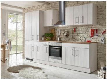 respekta Premium Küchenblock Landhaus 300 cm, Korpus & Front Lärche Weiß Nachbildung Arbeitsplatte Wildeiche Nachbildung