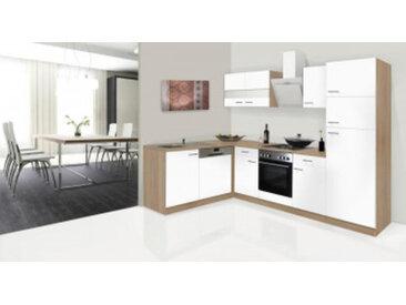 respekta Economy L-Küchenzeile 280x172 cm, Korpus & Arbeitsplatte Eiche Sonoma Sägerau Nachbildung/weiss, mit Schräghaube CH 21060