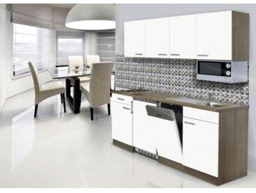 respekta Economy Küchenblock 195 cm, Korpus & Arbeitsplatte Eiche York Nachbildung/Weiß, Edelstahlkochmulde + Mikrowelle