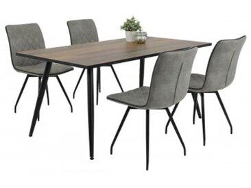 5-teilige Tischgruppe Sabine Old Wood Nachbildung/Vintage grau