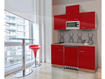 respekta Economy Küchenblock 150 cm, Korpus & Arbeitsplatte Eiche Sonoma Sägerau Nachbildung/Rot, Edelstahlkochmulde + Mikrowelle