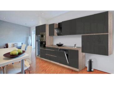 respekta Premium Grifflos-Küchenblock 445 cm, Korpus & Arbeitsplatte Eiche-Sägerau Nachbildung, Front grau Hochglanz, mit Einbau-Kühlgefrierkombination und Einbaumikrowelle
