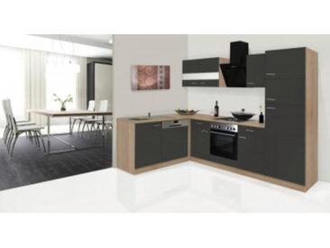 respekta Economy L-Küchenzeile 280x172 cm, Korpus & Arbeitsplatte Eiche Sonoma Sägerau Nachbildung/schwarz, mit Schräghaube CH 21060