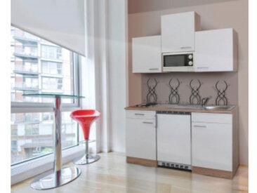 respekta Economy Küchenblock 150 cm, Korpus & Arbeitsplatte Eiche Sonoma Sägerau Nachbildung/Weiß, Edelstahlkochmulde + Mikrowelle