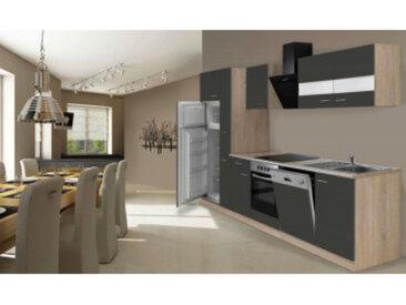 respekta Economy Küchenblock 310 cm, Korpus & Arbeitsplatte Eiche Sonoma Sägerau Nachbildung/grau, mit Einbau Kühl-Gefrierkombination GKE 144 A+