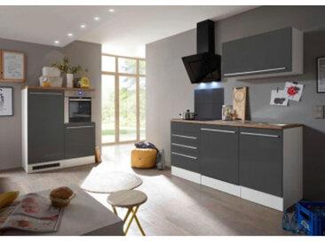 respekta Premium Küchenblock/Doppelblock 290 cm, Korpus Weiß Matt, Arbeitsplatte Wildeiche Nachbildung/grau, mit getrennt stellbarer Backofen/Kühlschrank-Blockeinheit