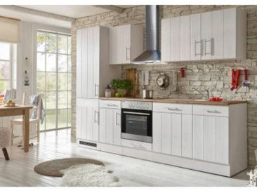 respekta Premium Küchenblock Landhaus 280 cm, Korpus & Front Lärche Weiß Nachbildung Arbeitsplatte Wildeiche Nachbildung, Geschirrspüler GSP 60 V