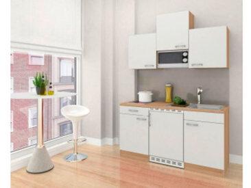 respekta Economy Küchenblock 150 cm, Korpus & Arbeitsplatte Eiche Sonoma Sägerau Nachbildung/Weiß, Glaskeramikkochfeld + Mikrowelle