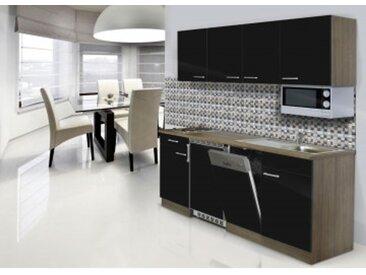respekta Economy Küchenblock 195 cm, Korpus & Arbeitsplatte Eiche York Nachbildung/Schwarz, Edelstahlkochmulde + Mikrowelle