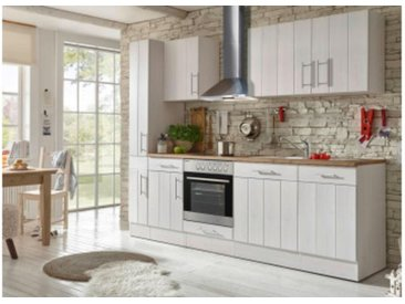 respekta Premium Küchenblock Landhaus 250 cm, Korpus & Front Lärche Weiß Nachbildung Arbeitsplatte Wildeiche Nachbildung, Geschirrspüler GSP 60 V