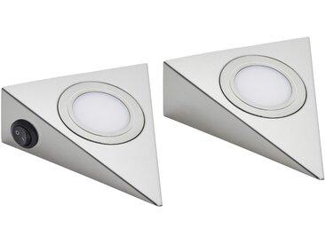 LED-Unterbauleuchten, 2er-Set  LED-Dreiecksleuchte ¦ silber ¦