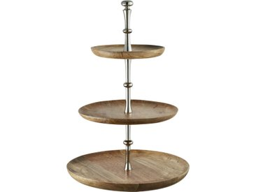 Basispreis* Etagere, 3-stufig ¦ holzfarben ¦ Holz, Aluminum