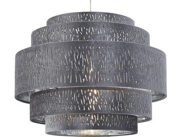 Basispreis* Pendelleuchte, 1-flammig, Stoffschirm grau/silber ¦