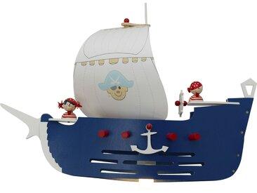 Pendelleuchte Piratenschiff Holz blau, weiß ¦ mehrfarbig ¦ Maße
