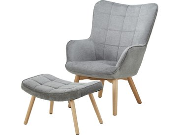 Basispreis* Sessel mit Hocker  Annika ¦ grau