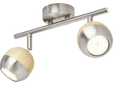 KHG LED-Spot, 2-flammig mit Holz ¦ braun ¦ Maße (cm): B: 8 H: 14