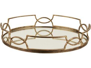 Basispreis* Tablett ¦ gold ¦ Metall, Glas  ¦ Maße (cm): H: 7,3 Ø: