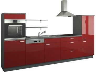 Küchenzeile ohne Elektrogeräte  Kassel ¦ rot ¦ Maße (cm): B: 330