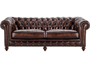 Basispreis* uno Sofa 3-sitzig Leder  Chesterfield ¦ braun