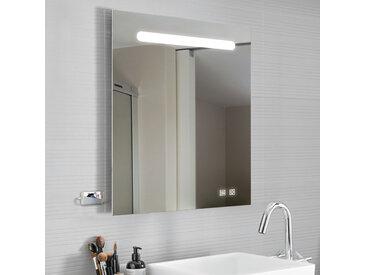 kalb   LED Spiegel Luna 80x70 cm + USB Ports + Anti-Beschlag Badspiegel beleuchtet Lichtspiegel Badezimmer Heizung