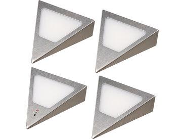 kalb    LED Unterbauleuchten Dreieck mit Sensor - Dimmer Einbaustrahler Einbauspot Edelstahl gebürstet
