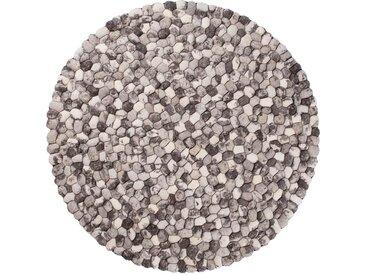 Filzteppich, Steinteppich, Runder Teppich, Steinoptik, Grau, Pebble, Woll-